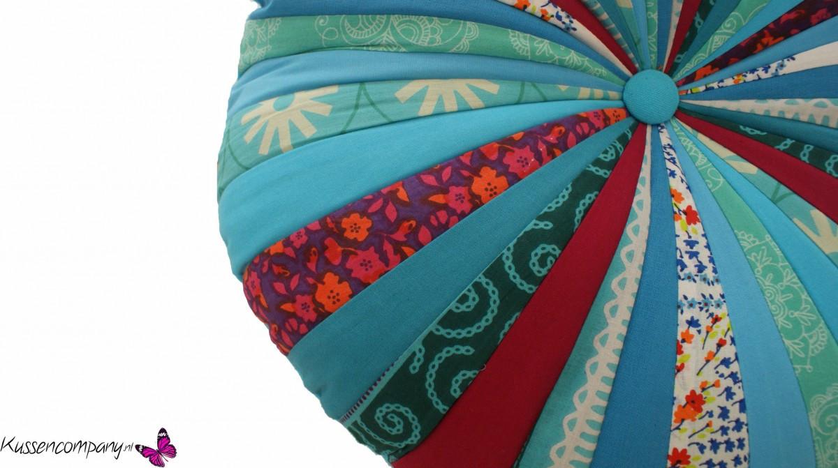 Kussen rond turquoise 45 cm sierkussens kussens for Lang rond kussen